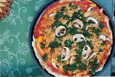 Selbst gemachte vegane Pizza